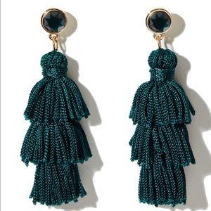 Loft green tassel holiday earrings